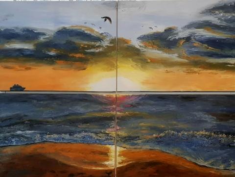 Miami South Beach, Sunrise, Waves, Birds, Ship, Clouds, Wet Sand, Sun Rays