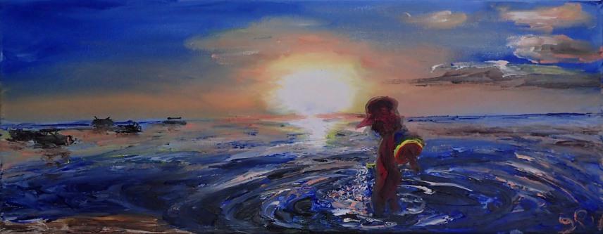 Ile Maurice, Sophie, Sea, Sun, Playing, Boats