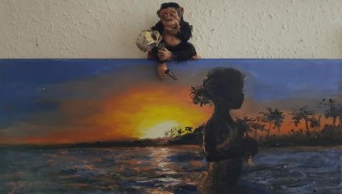 Sunset, Zypern, Affe mit Schädel, Vanitas, Darwin, Sündenfall