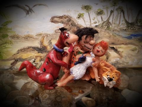 Feuersteins, Hanna-Barbera, BedRock, Fred, Wilma,  Pebbles, Dino, Baby Puss, Stone Age