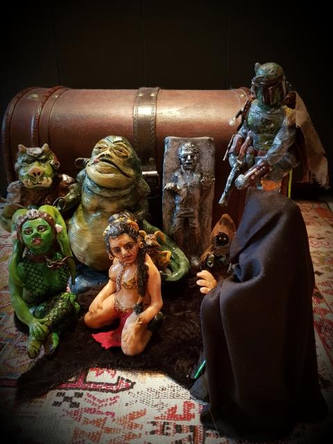 Star Wars, Tatooine, Jabba, Gamorrean Guard, Oola, Leia Slave, Luke Jedi, Han in Carbonite, Salacious Crumb, Jawa, Boba Fett