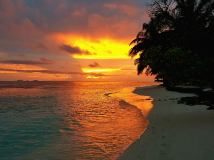 Vilamendhoo, Malediven, Abendrot