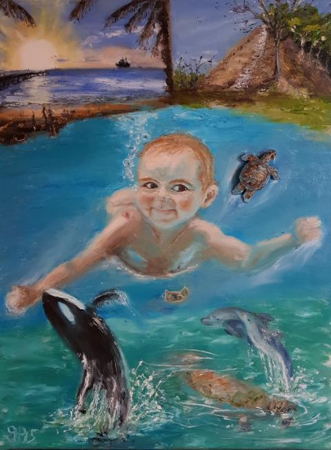 Unterwasser, Baby, Kraibikkreuzfahrt, Paradies, Sea Aquarium
